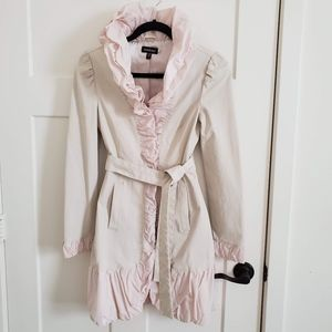 Bebe ruffle Trench coat Raincoat jacket dress XS